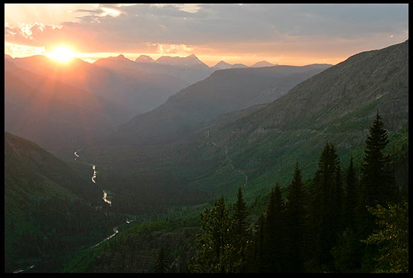 Sunsets over a mountain valley in Glacier National Park for our creation speaks to the heart photo