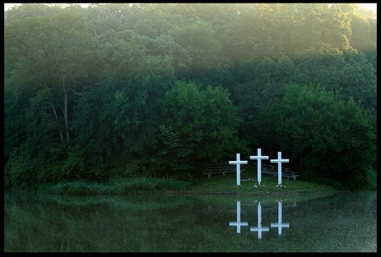 Three crosses by a lake for our statement of faith